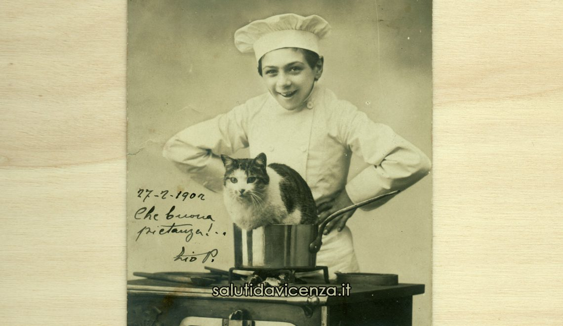Cartolina d'epoca umoristica sulla cucina veneta: Vicentini Magnagati